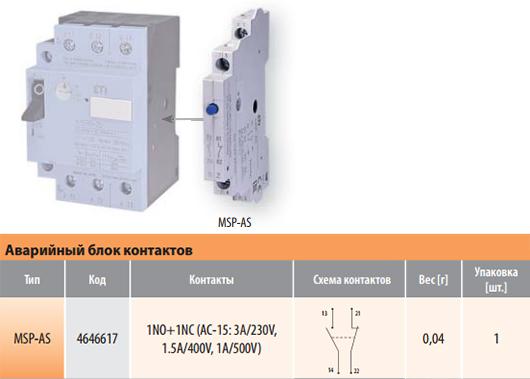 Аварийный блок контактов для автоматических выключателей защиты двигателей MSP