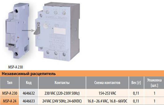 Независимый расцепитель к автоматическому выключателю защиты двигателя MSP (ETI)