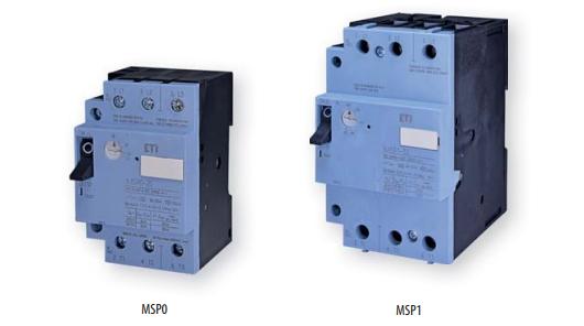 Автоматические выключатели защиты двигателей ETI: MSP0 и MSP1