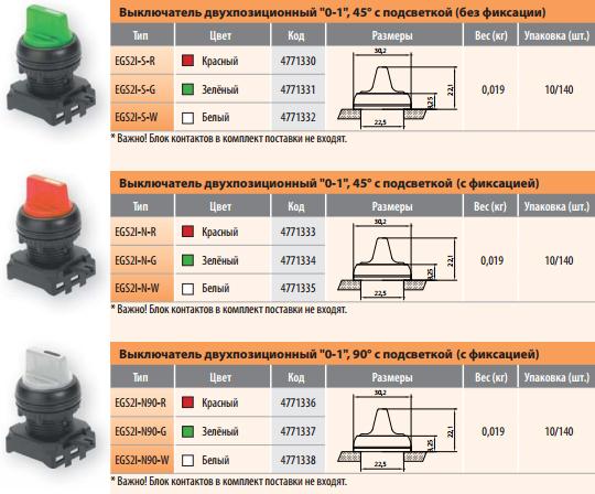 Выключатели двухпозиционные с подсветкой с фиксацией / без фиксации