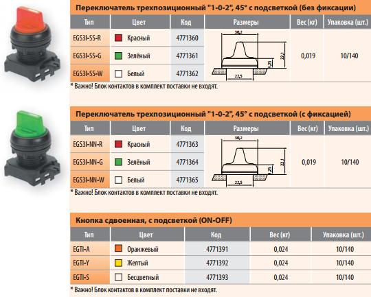 Переключатели трехпозиционные с подсветкой (с фиксацией/без фиксации), кнопка сдвоенная с подсветкой.