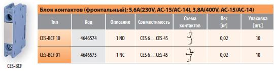Фронтальный блок контактов для силовых контакторов CES